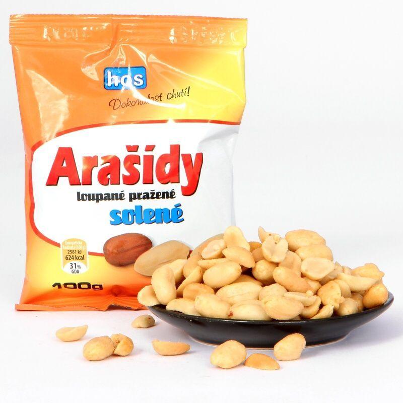 Arašídy loupané pražené solené 100g