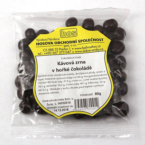 Kávová zrna v hořké čokoládě 80g