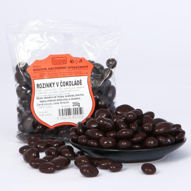 Rozinky v hořké čokoládě 200g